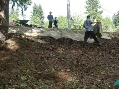 Volunteers carefully laid burlap sacks on the hillside to protect it from erosion during the coming rains.
